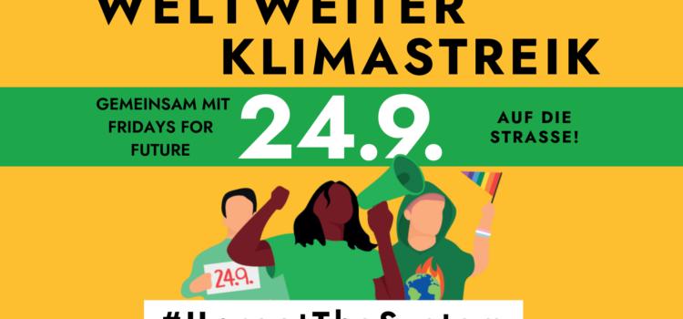 Klimastreik in St. Pölten     Kundgebung 24. Sept. 2021 <br>12.30 Uhr Bahnhofplatz St. Pölten – Landhaus – Rathausplatz