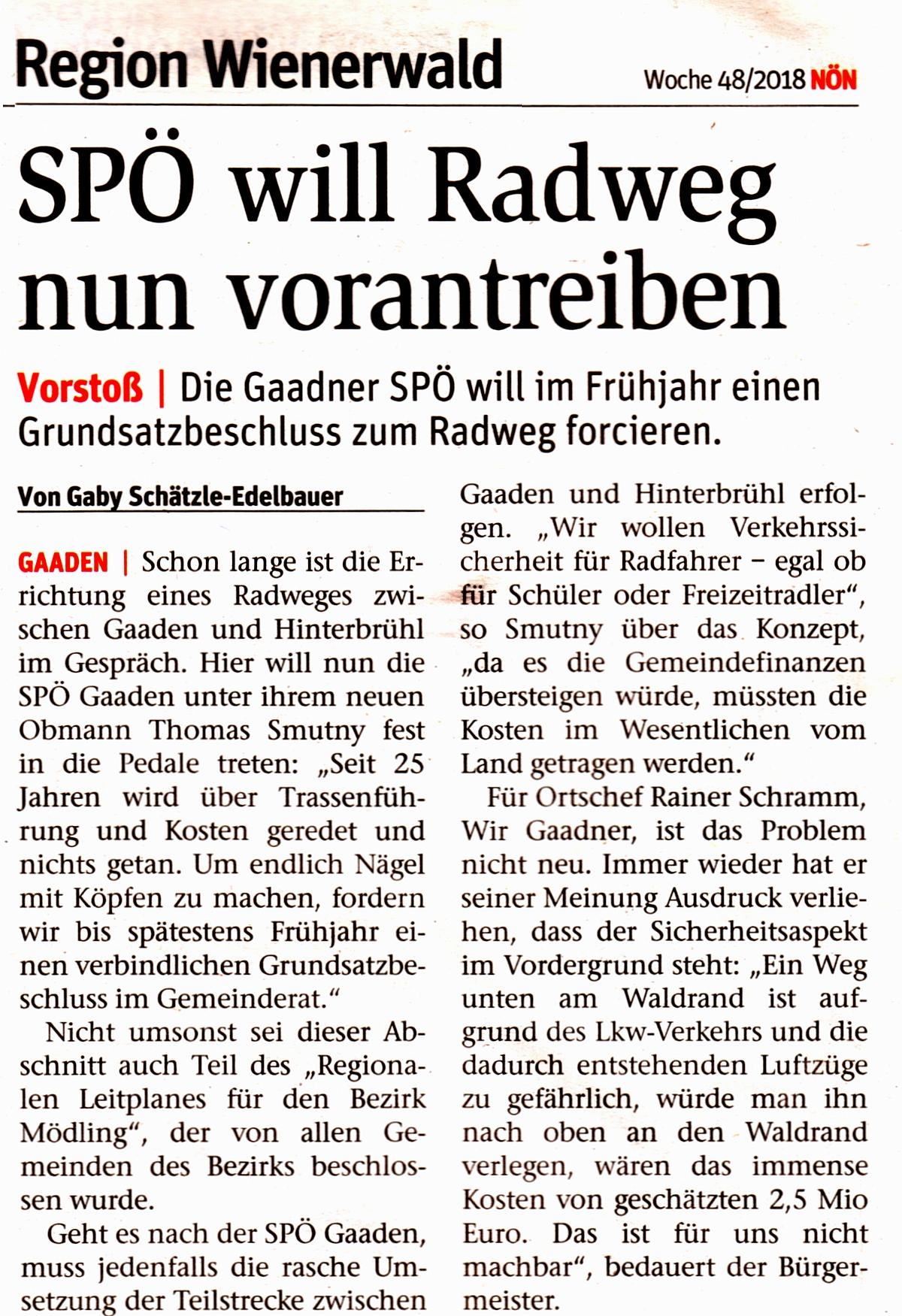 Zeitungsartikel NÖN: SPÖ will Radweg nun vorantreiben