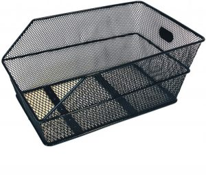 BASIL Hinterrad-Korb Cento • Material: Stahl engmaschig • feste Montage am Gepäckträgerrohr • inkl. Befestigungsmaterial • stabiler Rahmen, abgeschrägt • Korb wird in Fahrtrichtung befestigt • 45x31x21cm • schwarz, engmaschig
