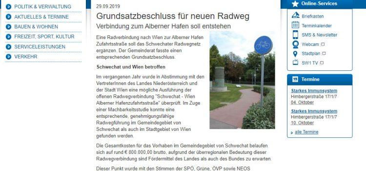 Schwechat: Grundsatzbeschluss für neuen Radweg <br>Verbindung zum Alberner Hafen soll entstehen