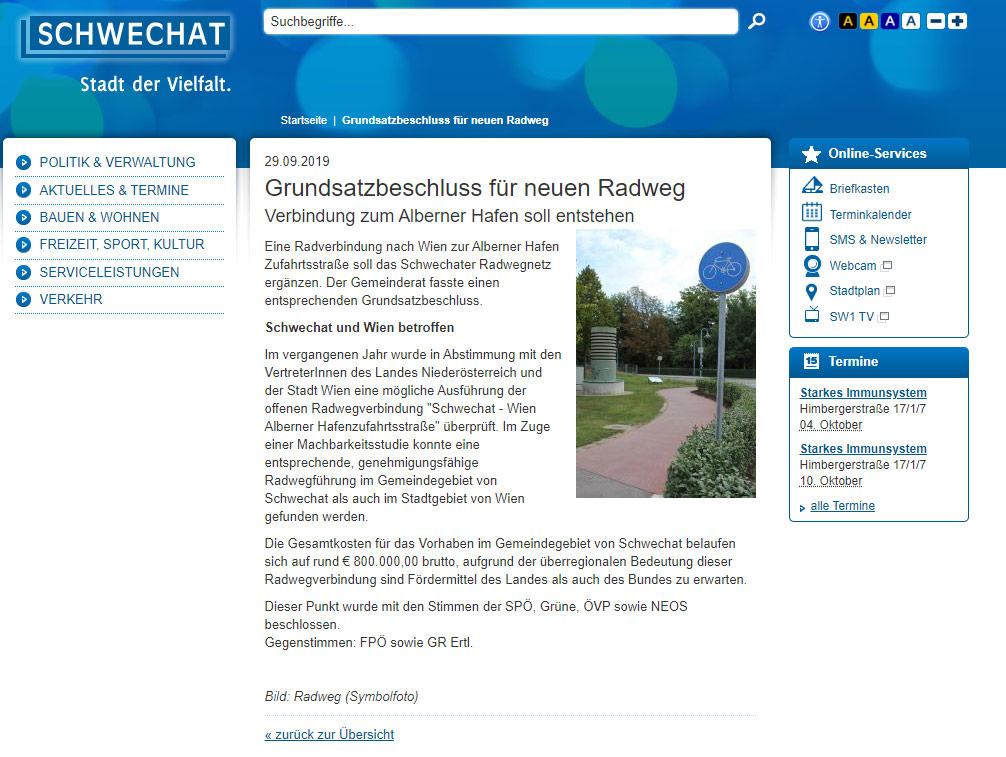 Screenshot: Homepage der Stadt Schwechat
