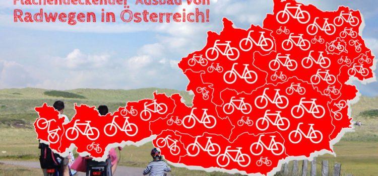 Petition: Flächendeckender Ausbau von Radwegen in Österreich <br>Wir unterstützen die persönliche Initiative von Elisabeth Hauer