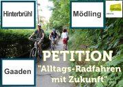 """Radlobby Mödling startet Onlinepetition """"Alltagsradfahren mit Zukunft"""" für Radweg Mödling-Gaaden"""